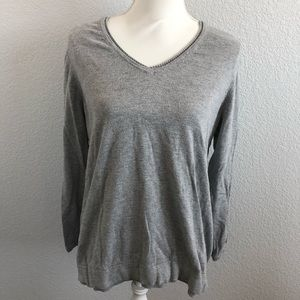 J. Jill V-Neck Grey Sweater